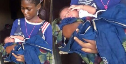 PHOTO: 12 YEAR OLD NIGERIAN GIRL WHO LIVES INSIDE REFUSE DUMP SITE GIVES BIRTH, NAMES BABY MIRACLE